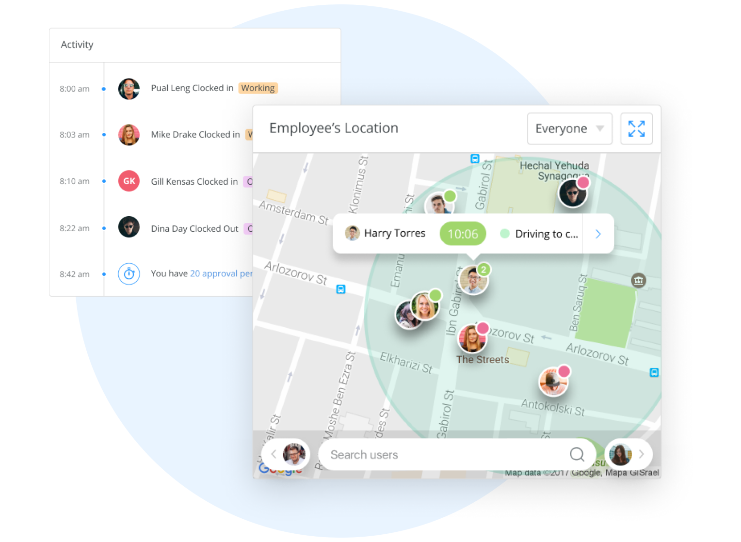 Employee location in real time app